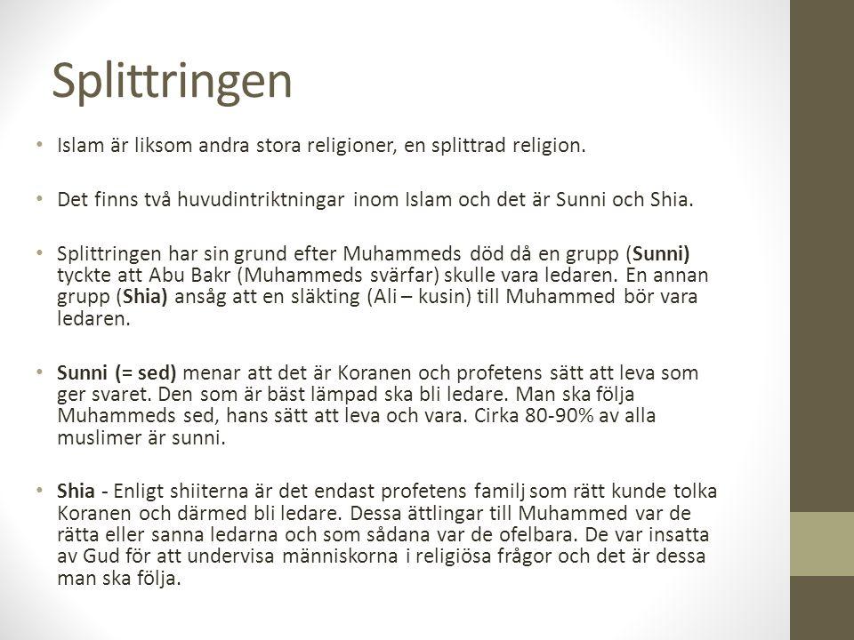 Splittringen Islam är liksom andra stora religioner, en splittrad religion. Det finns två huvudintriktningar inom Islam och det är Sunni och Shia. Spl