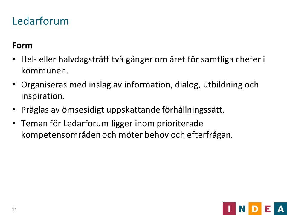 Ledarforum Form Hel- eller halvdagsträff två gånger om året för samtliga chefer i kommunen. Organiseras med inslag av information, dialog, utbildning
