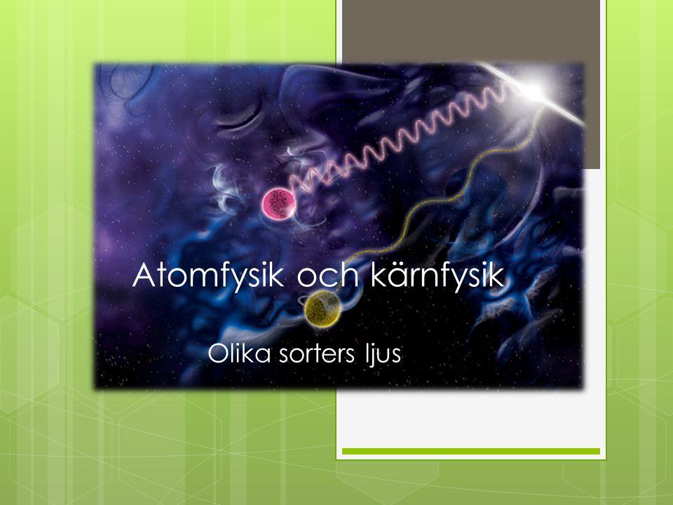 Atomfysik och kärnfysik Olika sorters ljus