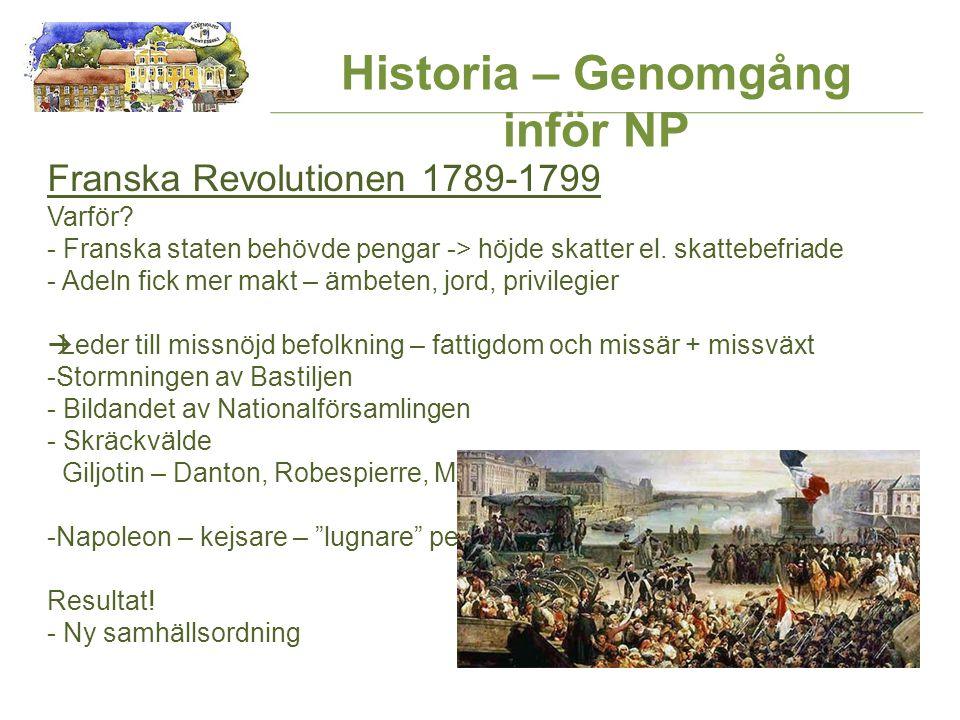 Historia – Genomgång inför NP Franska Revolutionen 1789-1799 Varför.