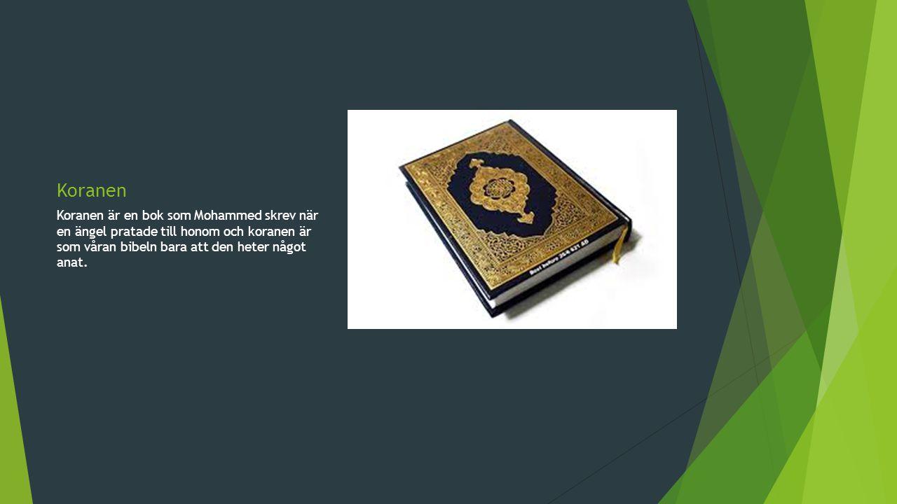 Koranen Koranen är en bok som Mohammed skrev när en ängel pratade till honom och koranen är som våran bibeln bara att den heter något anat.