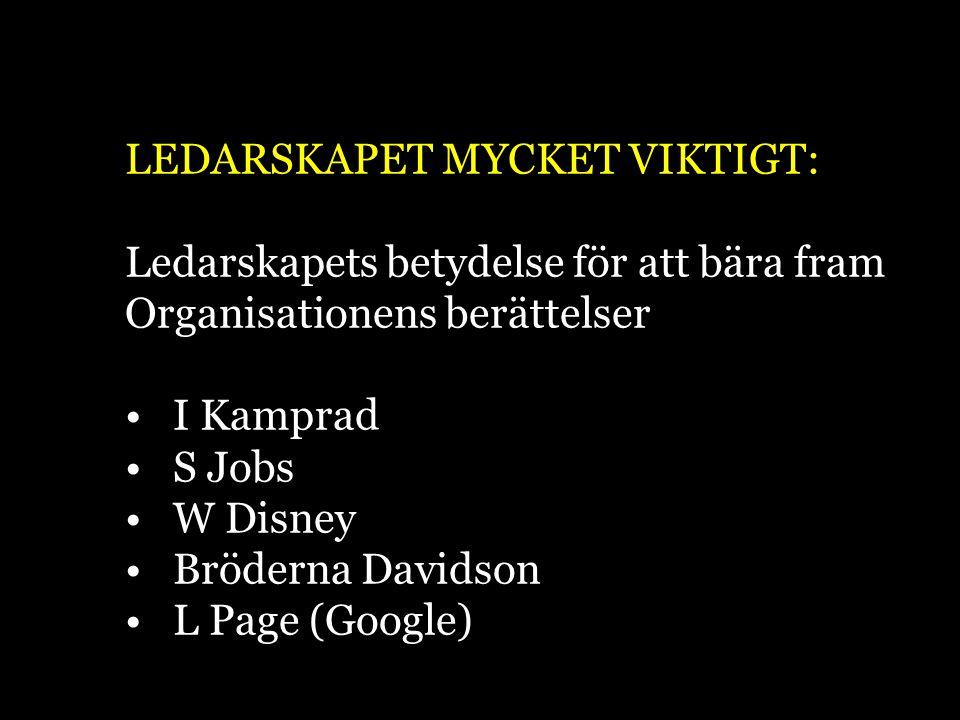 LEDARSKAPET MYCKET VIKTIGT: Ledarskapets betydelse för att bära fram Organisationens berättelser I Kamprad S Jobs W Disney Bröderna Davidson L Page (G