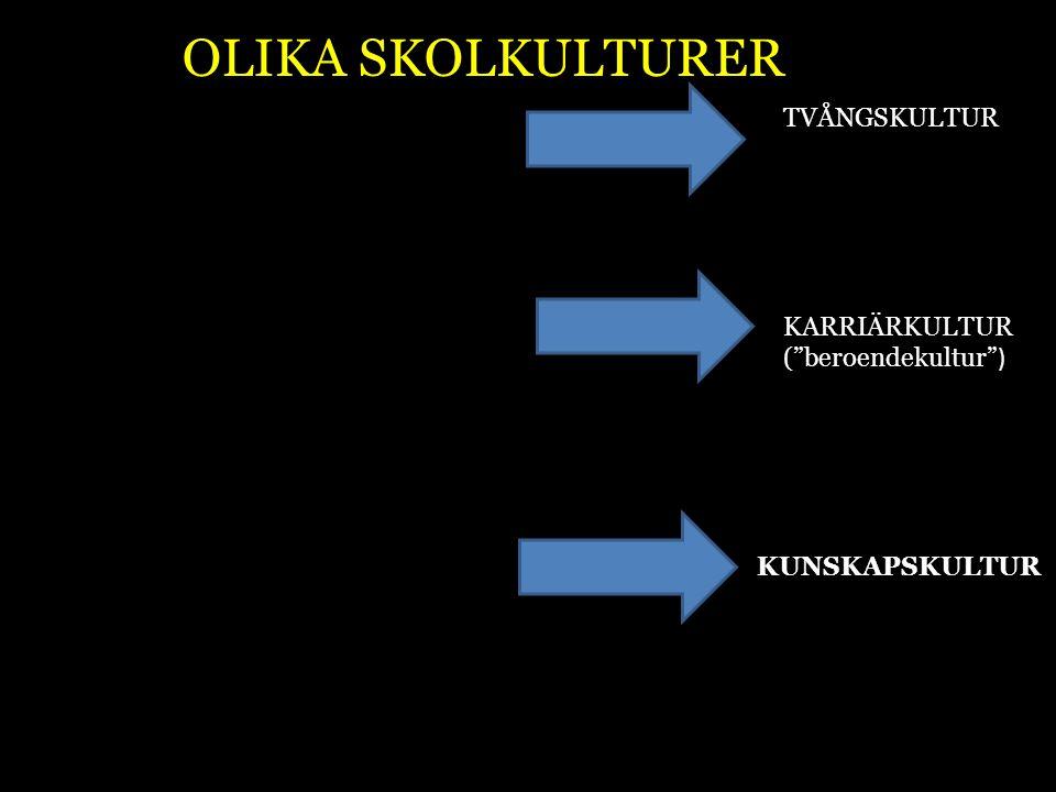 """TVÅNGSKULTUR KARRIÄRKULTUR (""""beroendekultur"""" ) KUNSKAPSKULTUR OLIKA SKOLKULTURER"""
