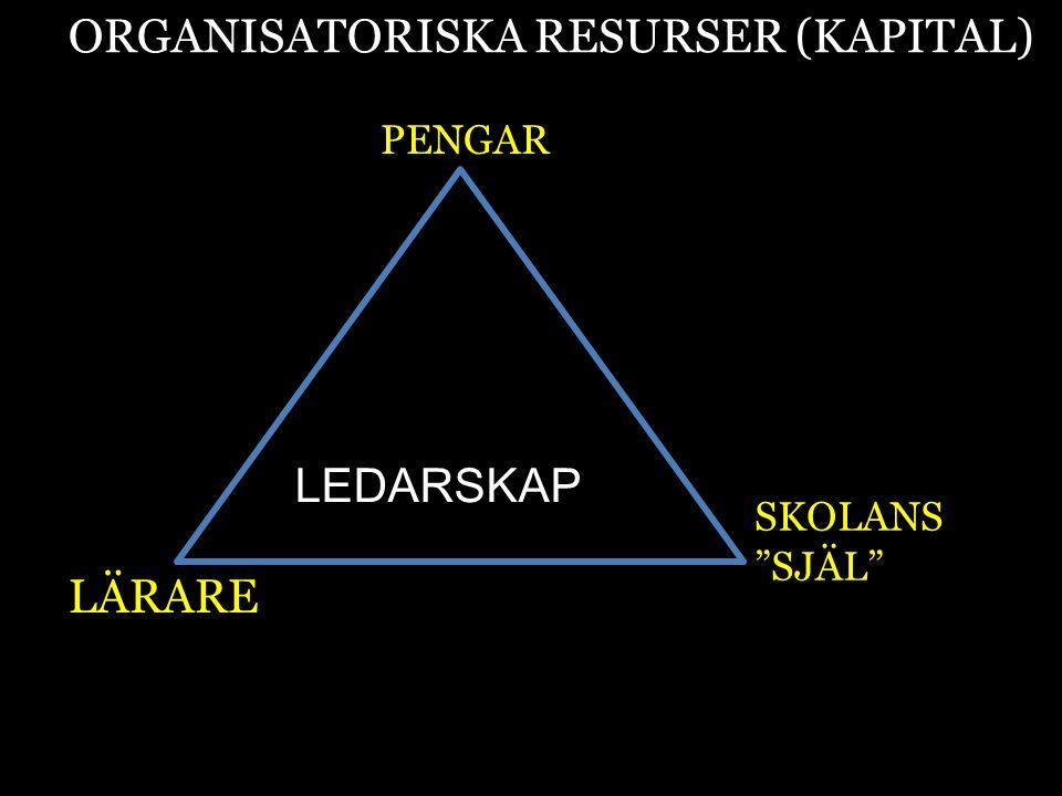 """ORGANISATORISKA RESURSER (KAPITAL) PENGAR LÄRARE SKOLANS """"SJÄL"""" LEDARSKAP"""