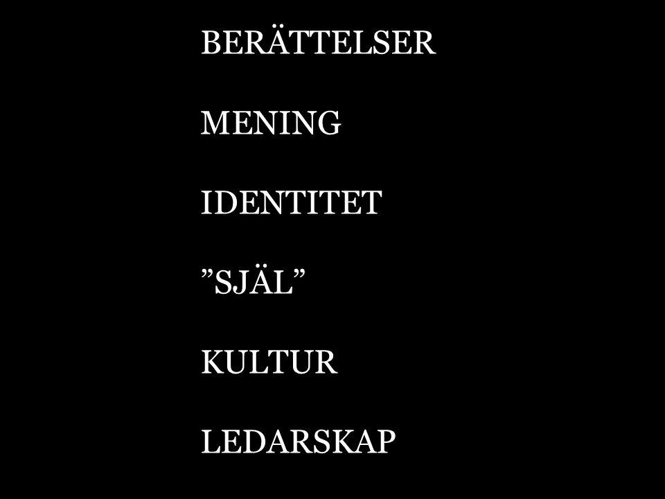 """BERÄTTELSER MENING IDENTITET """"SJÄL"""" KULTUR LEDARSKAP"""