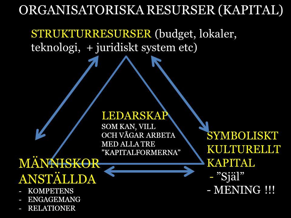 ORGANISATORISKA RESURSER (KAPITAL) STRUKTURRESURSER (budget, lokaler, teknologi, + juridiskt system etc) MÄNNISKOR ANSTÄLLDA -KOMPETENS -ENGAGEMANG -R
