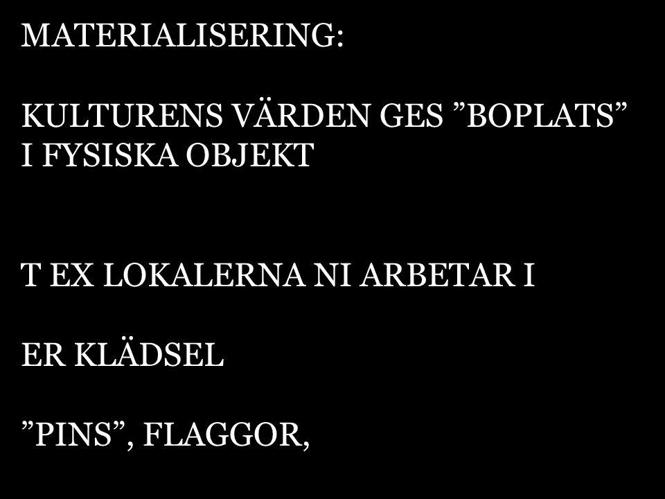 """MATERIALISERING: KULTURENS VÄRDEN GES """"BOPLATS"""" I FYSISKA OBJEKT T EX LOKALERNA NI ARBETAR I ER KLÄDSEL """"PINS"""", FLAGGOR,"""