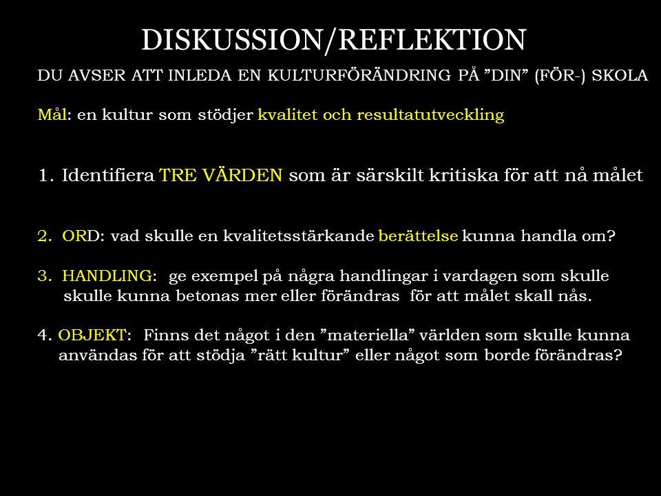 """DISKUSSION/REFLEKTION DU AVSER ATT INLEDA EN KULTURFÖRÄNDRING PÅ """"DIN"""" (FÖR-) SKOLA Mål: en kultur som stödjer kvalitet och resultatutveckling 1.Ident"""