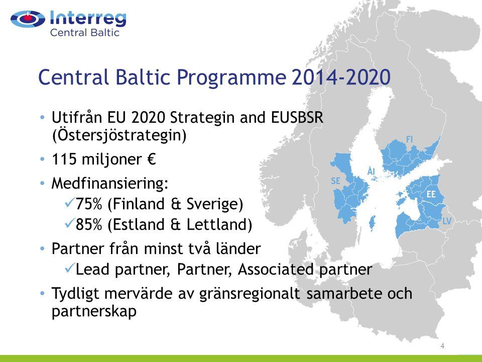 Central Baltic Programme 2014-2020 4 Utifrån EU 2020 Strategin and EUSBSR (Östersjöstrategin) 115 miljoner € Medfinansiering: 75% (Finland & Sverige) 85% (Estland & Lettland) Partner från minst två länder Lead partner, Partner, Associated partner Tydligt mervärde av gränsregionalt samarbete och partnerskap