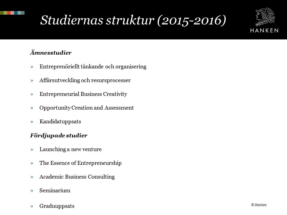 Studiernas struktur (2015-2016) Ämnesstudier »Entreprenöriellt tänkande och organisering »Affärsutveckling och resursprocesser »Entrepreneurial Business Creativity »Opportunity Creation and Assessment »Kandidatuppsats Fördjupade studier »Launching a new venture »The Essence of Entrepreneurship »Academic Business Consulting »Seminarium »Graduuppsats © Hanken