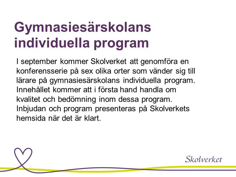 Gymnasiesärskolans individuella program I september kommer Skolverket att genomföra en konferensserie på sex olika orter som vänder sig till lärare på gymnasiesärskolans individuella program.