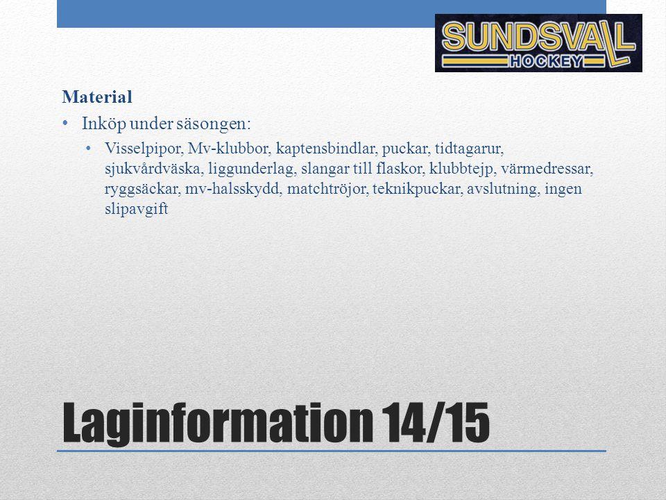 Laginformation 14/15 Material Inköp under säsongen: Visselpipor, Mv-klubbor, kaptensbindlar, puckar, tidtagarur, sjukvårdväska, liggunderlag, slangar