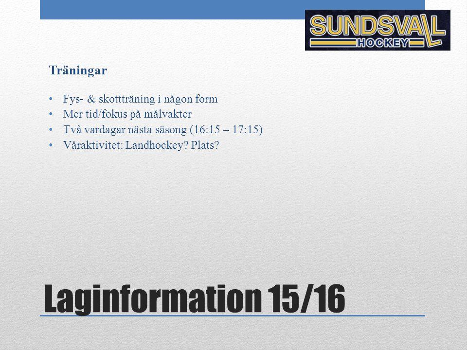 Laginformation 15/16 Träningar Fys- & skottträning i någon form Mer tid/fokus på målvakter Två vardagar nästa säsong (16:15 – 17:15) Våraktivitet: Landhockey.