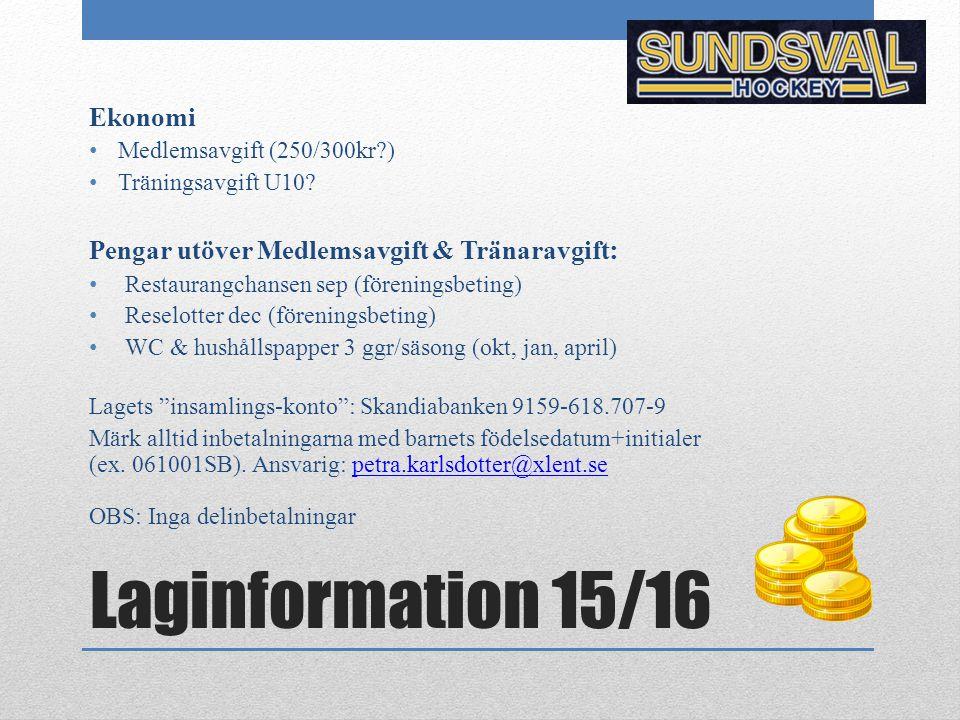 Laginformation 15/16 Ekonomi Medlemsavgift (250/300kr?) Träningsavgift U10? Pengar utöver Medlemsavgift & Tränaravgift : Restaurangchansen sep (föreni