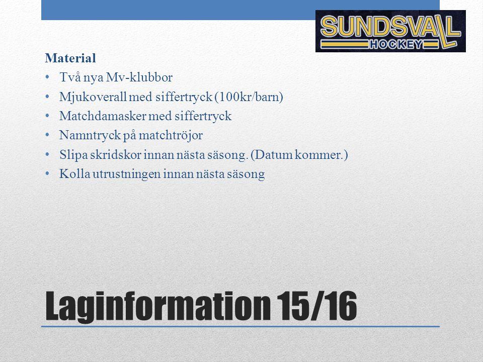 Laginformation 15/16 Material Två nya Mv-klubbor Mjukoverall med siffertryck (100kr/barn) Matchdamasker med siffertryck Namntryck på matchtröjor Slipa skridskor innan nästa säsong.