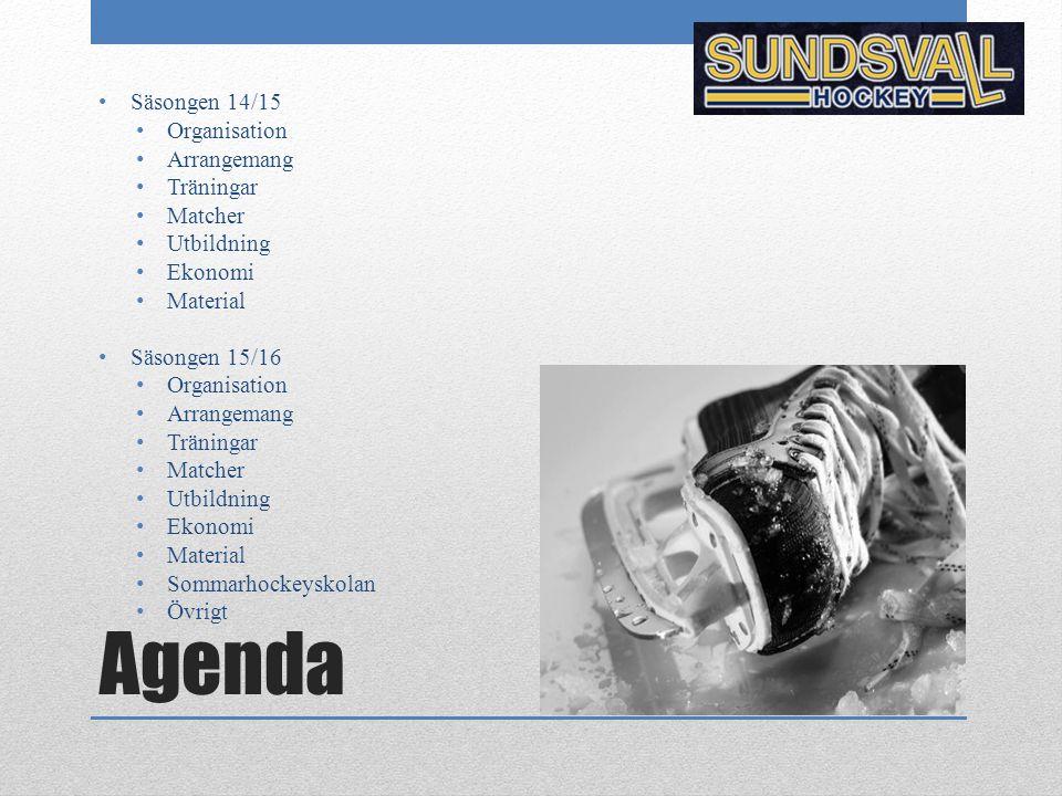 Agenda Säsongen 14/15 Organisation Arrangemang Träningar Matcher Utbildning Ekonomi Material Säsongen 15/16 Organisation Arrangemang Träningar Matcher
