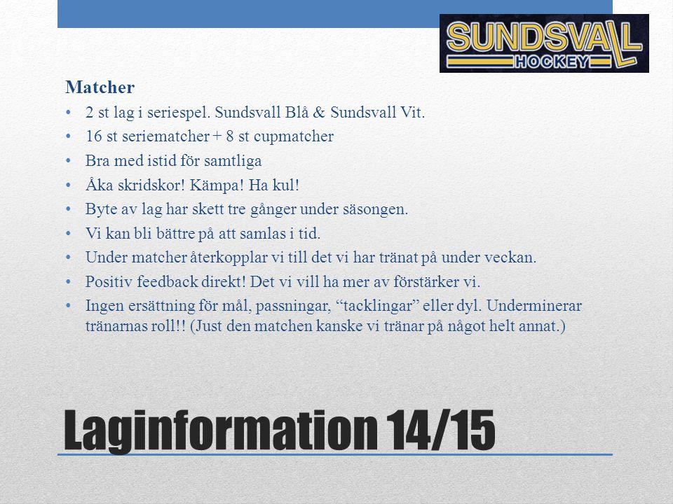 Laginformation 14/15 Matcher 2 st lag i seriespel. Sundsvall Blå & Sundsvall Vit. 16 st seriematcher + 8 st cupmatcher Bra med istid för samtliga Åka