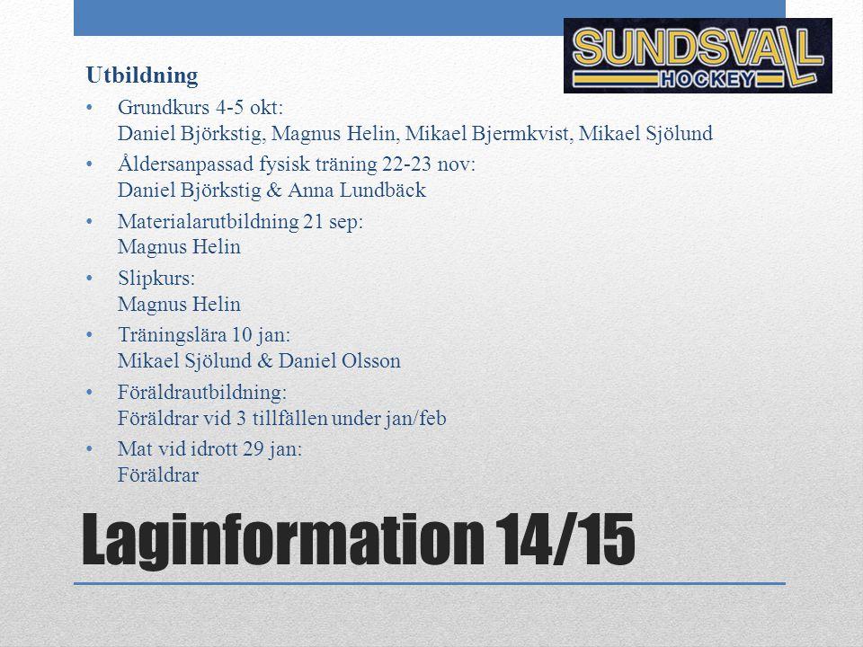 Laginformation 14/15 Utbildning Grundkurs 4-5 okt: Daniel Björkstig, Magnus Helin, Mikael Bjermkvist, Mikael Sjölund Åldersanpassad fysisk träning 22-