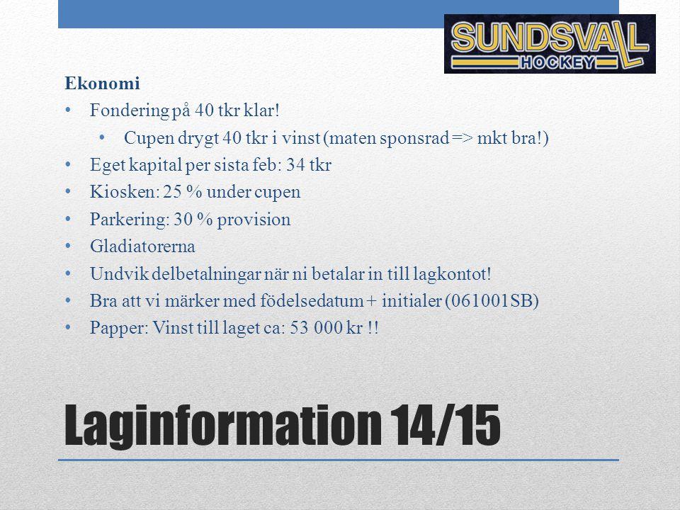 Laginformation 14/15 Ekonomi Fondering på 40 tkr klar.