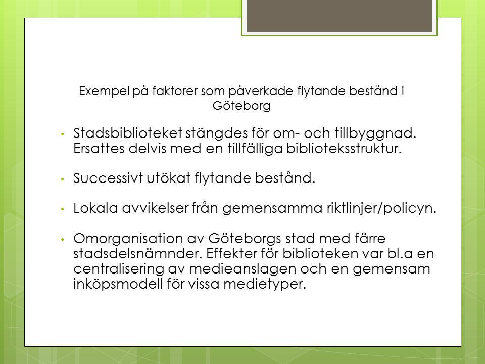 Exempel på faktorer som påverkade flytande bestånd i Göteborg Stadsbiblioteket stängdes för om- och tillbyggnad.