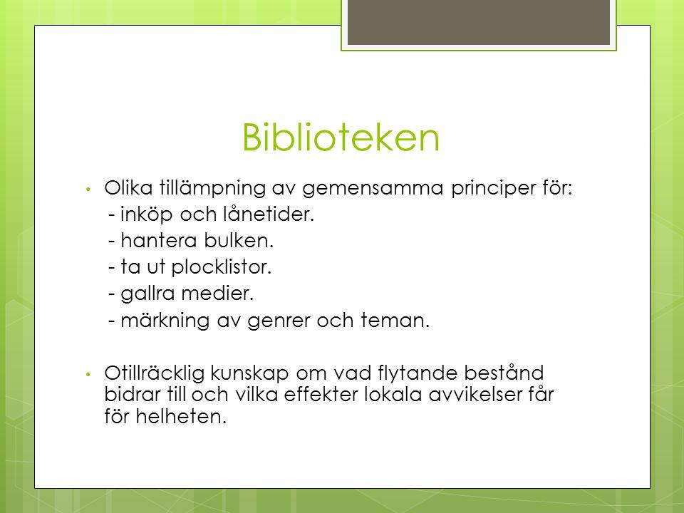 Biblioteken Olika tillämpning av gemensamma principer för: - inköp och lånetider.