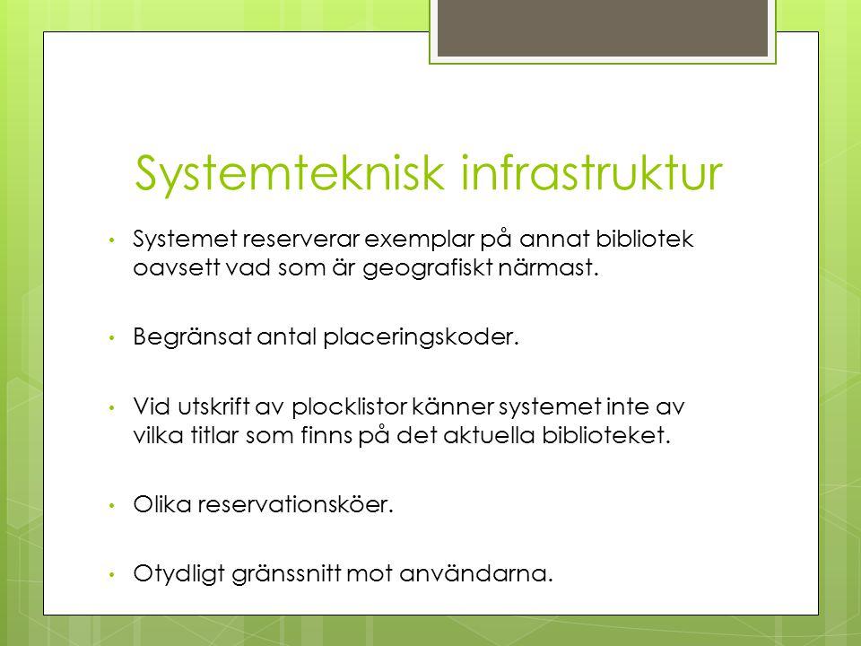 Systemteknisk infrastruktur Systemet reserverar exemplar på annat bibliotek oavsett vad som är geografiskt närmast.