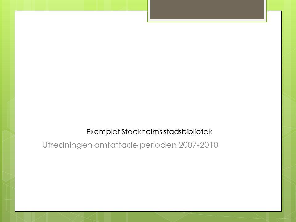 Exemplet Stockholms stadsbibliotek Utredningen omfattade perioden 2007-2010