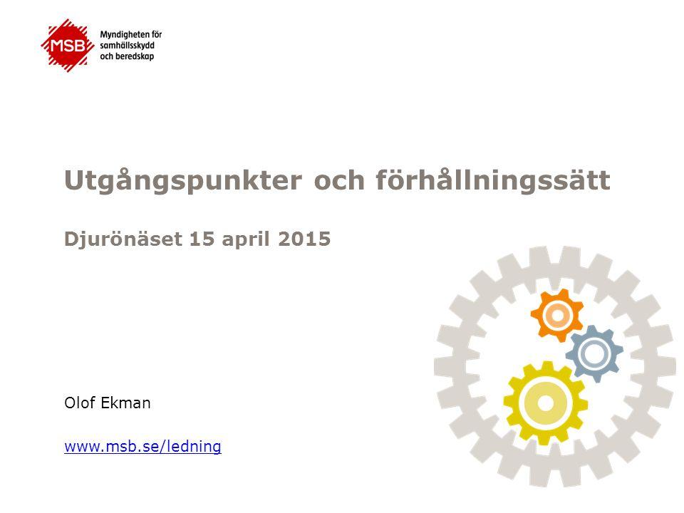 Utgångspunkter och förhållningssätt Djurönäset 15 april 2015 Olof Ekman www.msb.se/ledning
