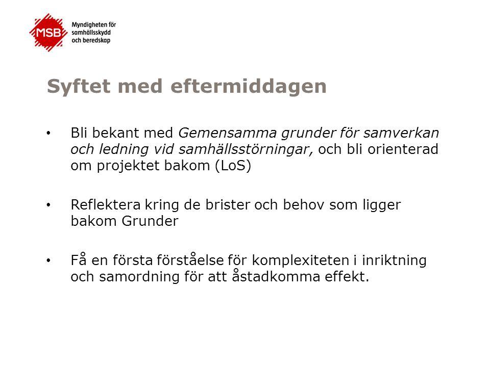 Myndigheten för samhällsskydd och beredskap Den svenska modellen Närhetsprincipen Likhetsprincipen Aktörer Principer Regelverk