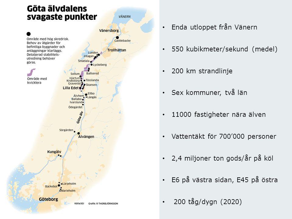 Myndigheten för samhällsskydd och beredskap Enda utloppet från Vänern 550 kubikmeter/sekund (medel) 200 km strandlinje Sex kommuner, två län 11000 fas