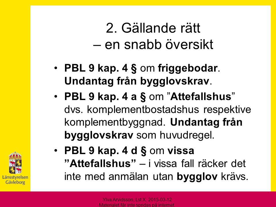 """2. Gällande rätt – en snabb översikt PBL 9 kap. 4 § om friggebodar. Undantag från bygglovskrav. PBL 9 kap. 4 a § om """"Attefallshus"""" dvs. komplementbost"""