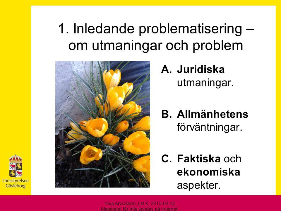 1. Inledande problematisering – om utmaningar och problem A.Juridiska utmaningar. B.Allmänhetens förväntningar. C.Faktiska och ekonomiska aspekter. Yl