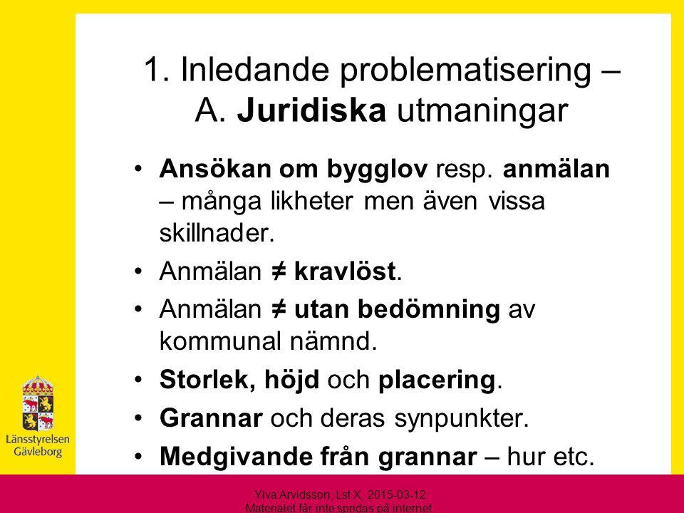 1. Inledande problematisering – A. Juridiska utmaningar Ansökan om bygglov resp. anmälan – många likheter men även vissa skillnader. Anmälan ≠ kravlös