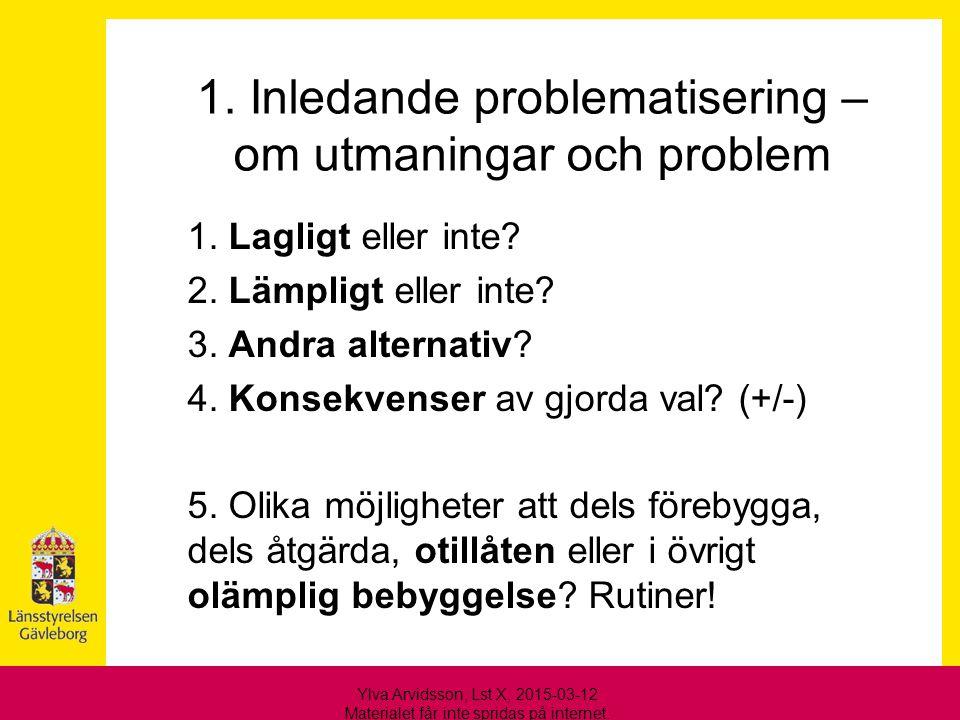 1. Inledande problematisering – om utmaningar och problem 1. Lagligt eller inte? 2. Lämpligt eller inte? 3. Andra alternativ? 4. Konsekvenser av gjord