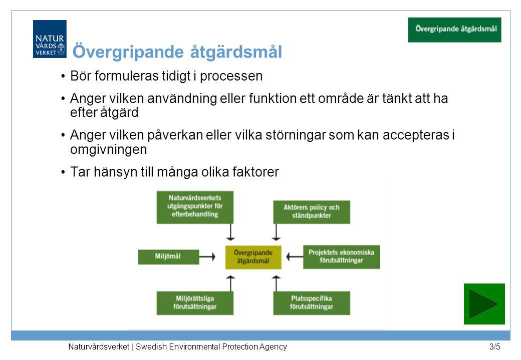 Naturvårdsverket | Swedish Environmental Protection Agency 3/5 Övergripande åtgärdsmål Bör formuleras tidigt i processen Anger vilken användning eller funktion ett område är tänkt att ha efter åtgärd Anger vilken påverkan eller vilka störningar som kan accepteras i omgivningen Tar hänsyn till många olika faktorer