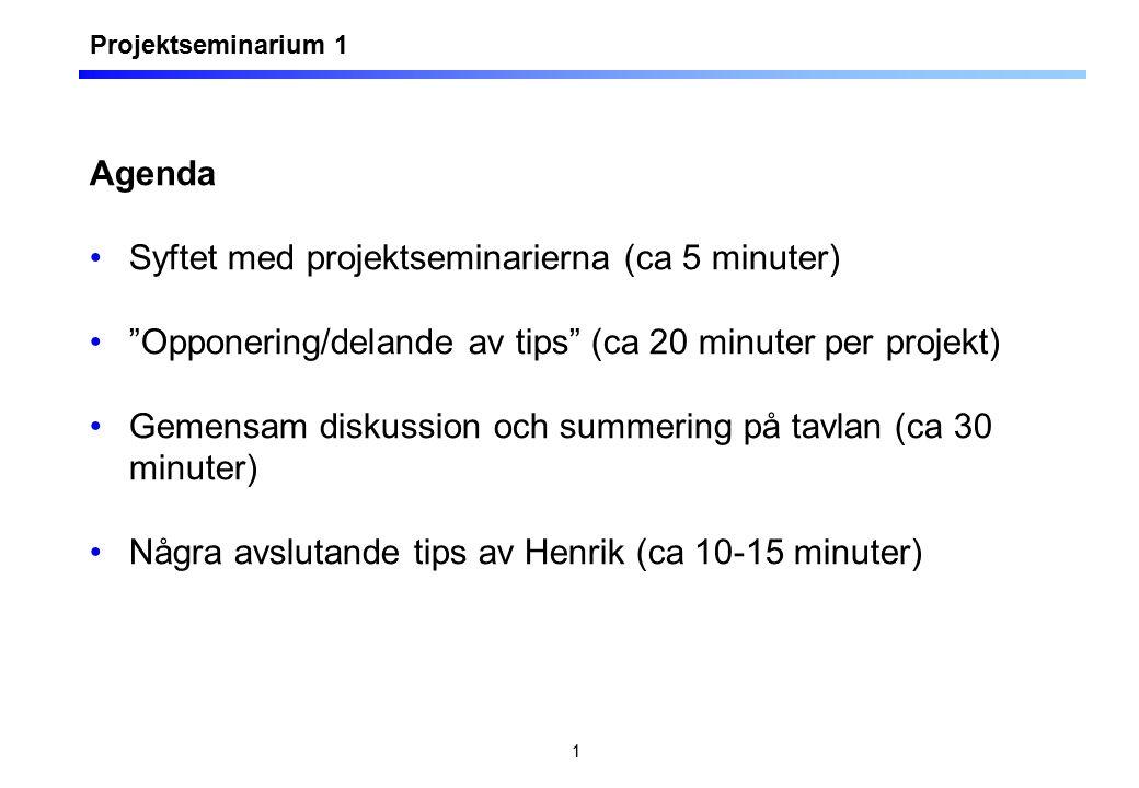 """1 Agenda Syftet med projektseminarierna (ca 5 minuter) """"Opponering/delande av tips"""" (ca 20 minuter per projekt) Gemensam diskussion och summering på t"""