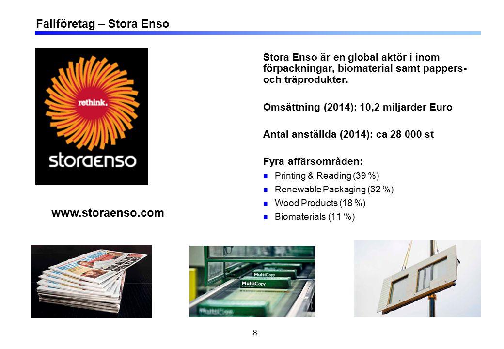 8 Stora Enso är en global aktör i inom förpackningar, biomaterial samt pappers- och träprodukter. Omsättning (2014): 10,2 miljarder Euro Antal anställ
