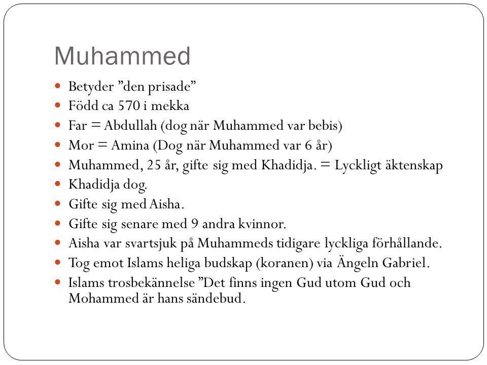 """Muhammed Betyder """"den prisade"""" Född ca 570 i mekka Far = Abdullah (dog när Muhammed var bebis) Mor = Amina (Dog när Muhammed var 6 år) Muhammed, 25 år"""