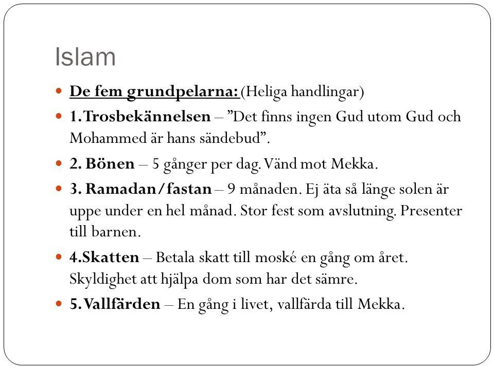 """Islam De fem grundpelarna: (Heliga handlingar) 1. Trosbekännelsen – """"Det finns ingen Gud utom Gud och Mohammed är hans sändebud"""". 2. Bönen – 5 gånger"""