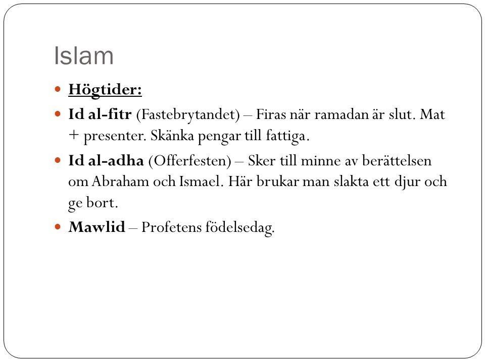 Islam Högtider: Id al-fitr (Fastebrytandet) – Firas när ramadan är slut. Mat + presenter. Skänka pengar till fattiga. Id al-adha (Offerfesten) – Sker
