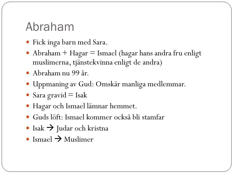 Abraham Fick inga barn med Sara. Abraham + Hagar = Ismael (hagar hans andra fru enligt muslimerna, tjänstekvinna enligt de andra) Abraham nu 99 år. Up