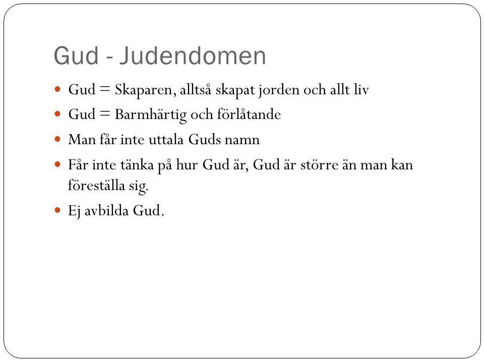 Gud - Judendomen Gud = Skaparen, alltså skapat jorden och allt liv Gud = Barmhärtig och förlåtande Man får inte uttala Guds namn Får inte tänka på hur