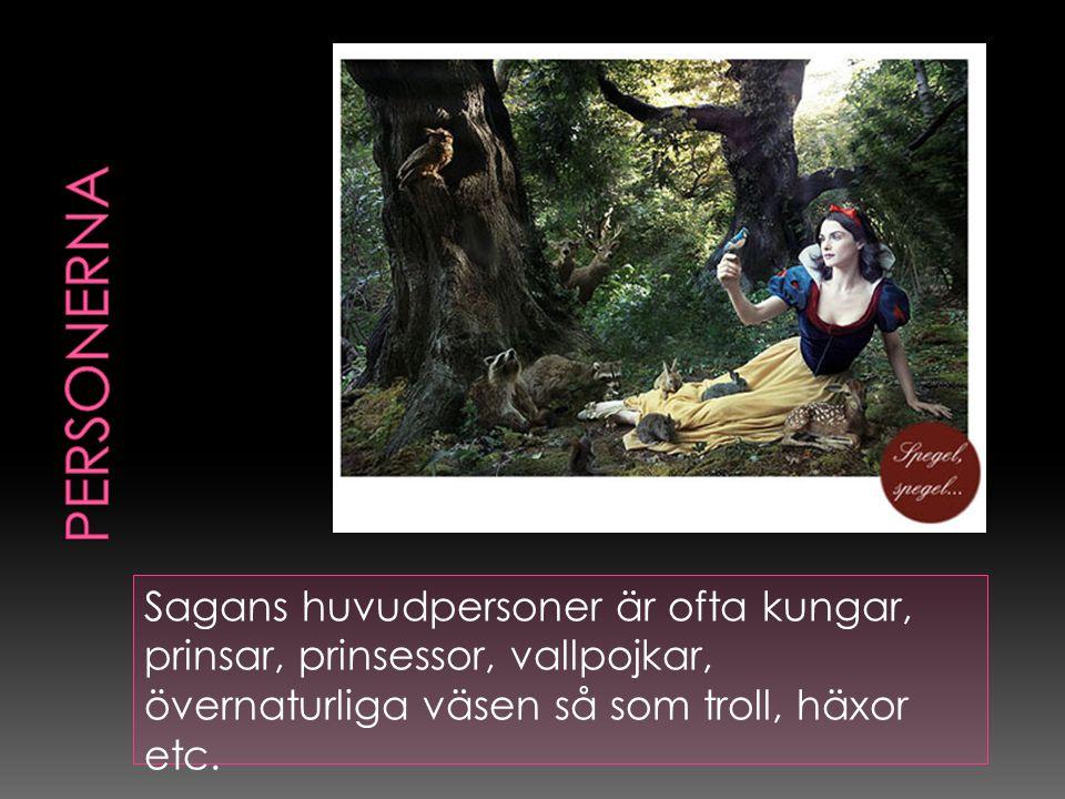Sagans huvudpersoner är ofta kungar, prinsar, prinsessor, vallpojkar, övernaturliga väsen så som troll, häxor etc.