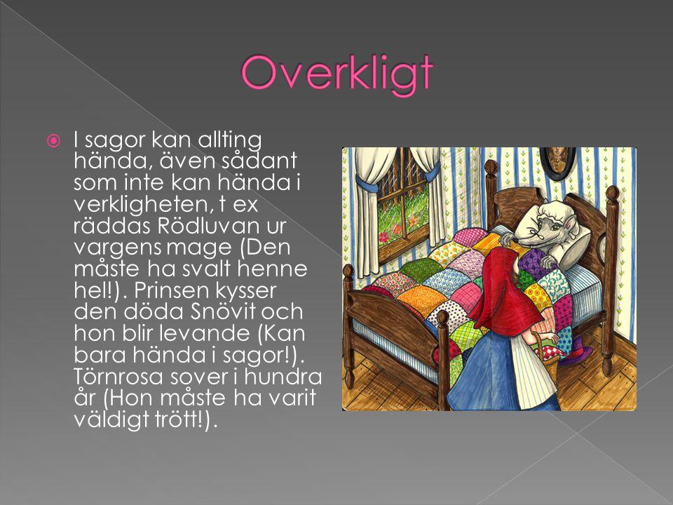  I sagorna finns oftast något magiskt, t ex kiselstenarna i Hans och Greta, de väckande kyssarna i Törnrosa och Snövit, trollspöet i Askungen och bönorna i Jack och bönstjälken.