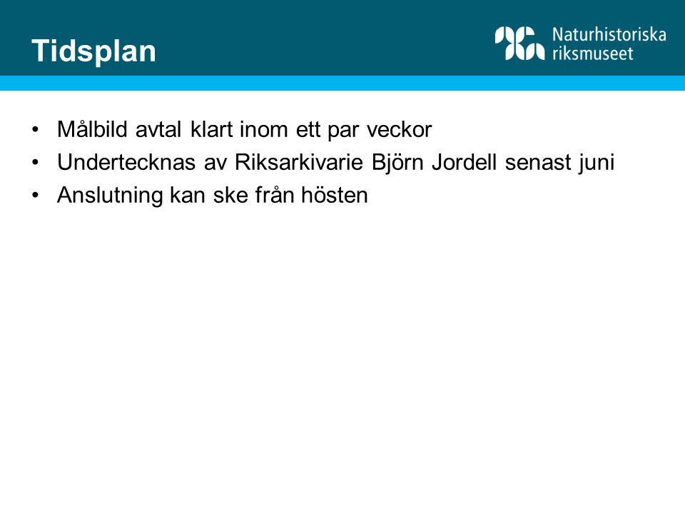 Målbild avtal klart inom ett par veckor Undertecknas av Riksarkivarie Björn Jordell senast juni Anslutning kan ske från hösten Tidsplan