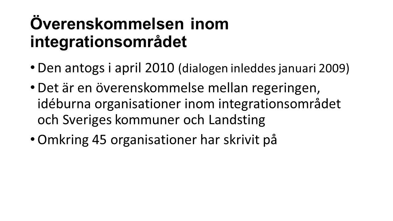 Överenskommelsen inom integrationsområdet Den antogs i april 2010 (dialogen inleddes januari 2009) Det är en överenskommelse mellan regeringen, idéburna organisationer inom integrationsområdet och Sveriges kommuner och Landsting Omkring 45 organisationer har skrivit på
