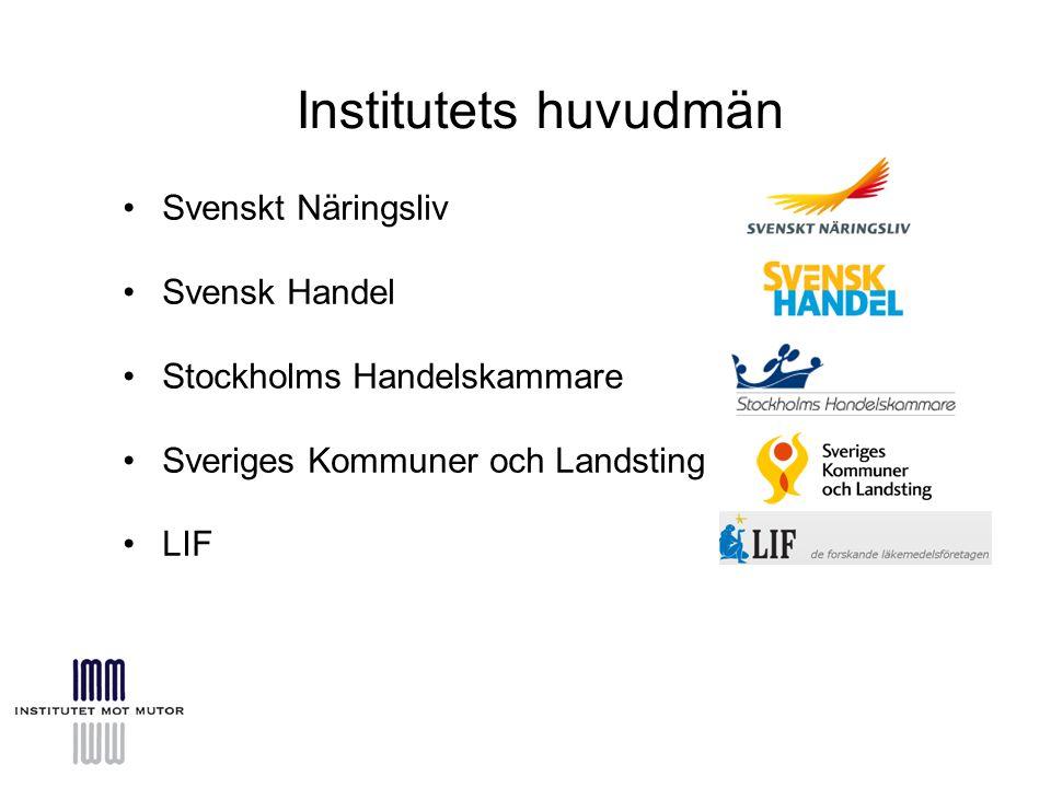 Institutets huvudmän Svenskt Näringsliv Svensk Handel Stockholms Handelskammare Sveriges Kommuner och Landsting LIF