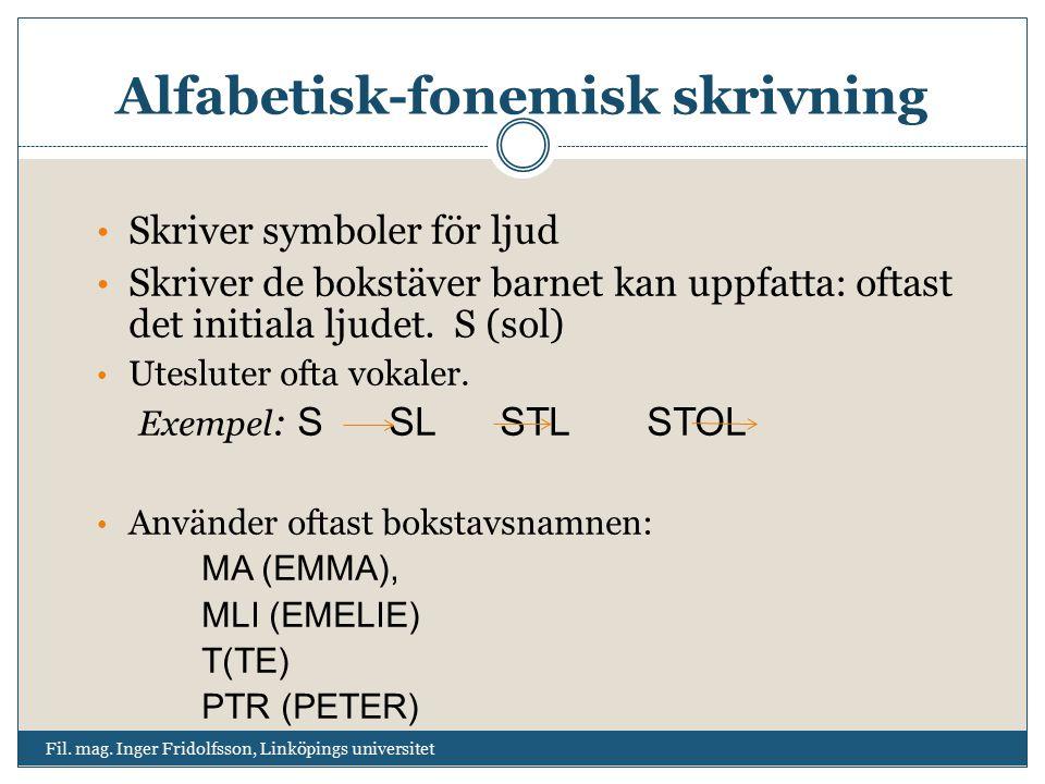 Alfabetisk-fonemisk skrivning Fil. mag. Inger Fridolfsson, Linköpings universitet Skriver symboler för ljud Skriver de bokstäver barnet kan uppfatta: