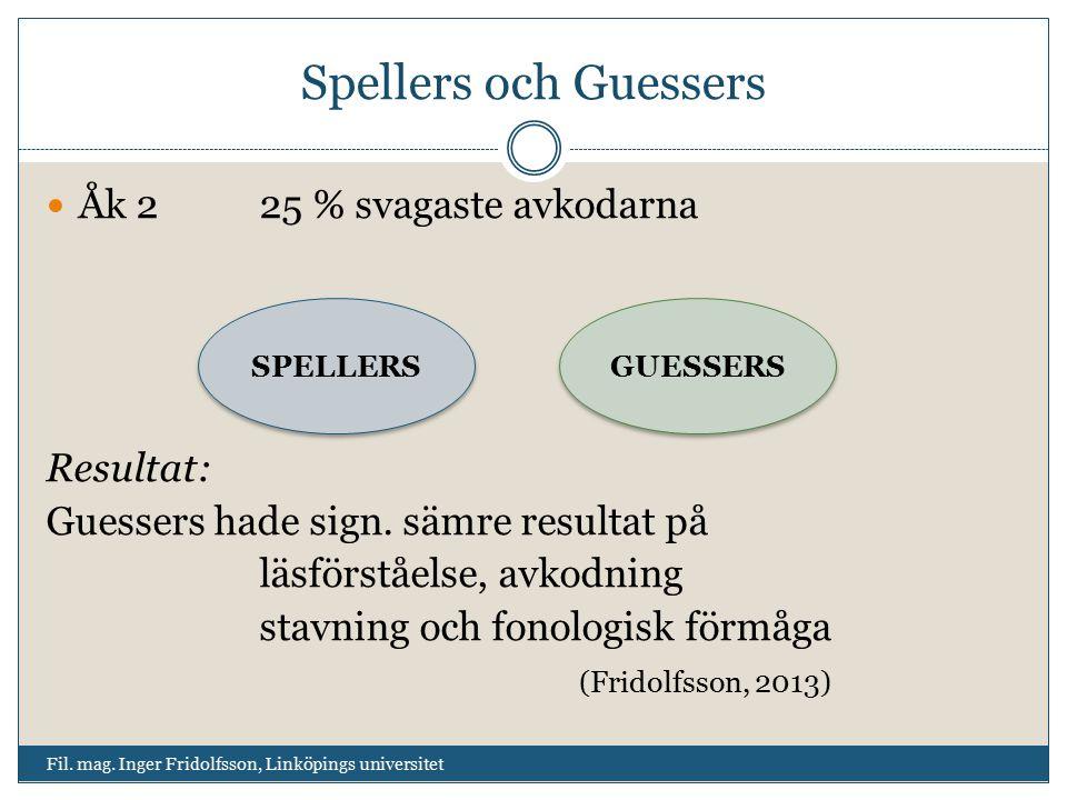 Spellers och Guessers Fil. mag. Inger Fridolfsson, Linköpings universitet Åk 225 % svagaste avkodarna Resultat: Guessers hade sign. sämre resultat på