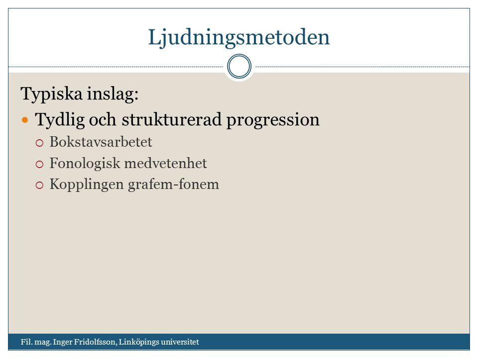 Ljudningsmetoden Typiska inslag: Tydlig och strukturerad progression  Bokstavsarbetet  Fonologisk medvetenhet  Kopplingen grafem-fonem Fil. mag. In